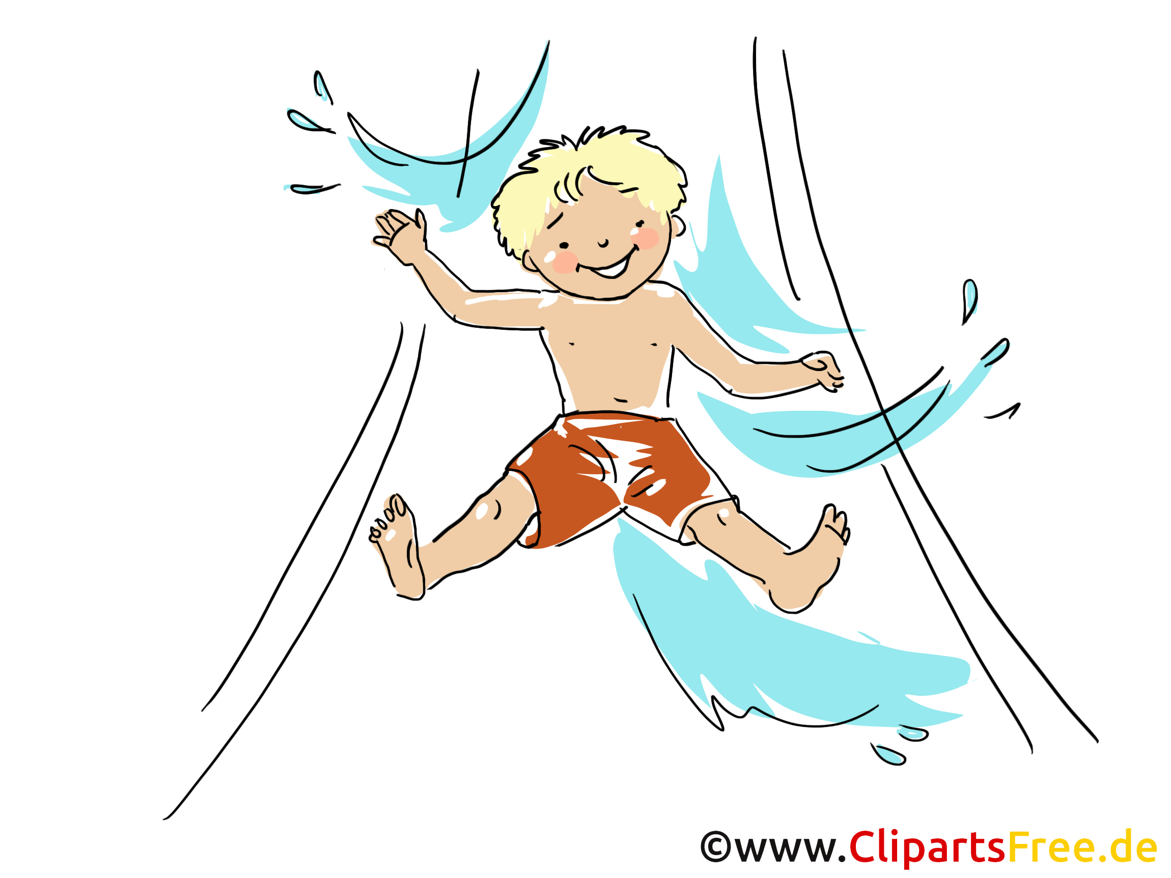 Wasserrutsche Clipart, Bild, Cartoon, Comic, Grafik