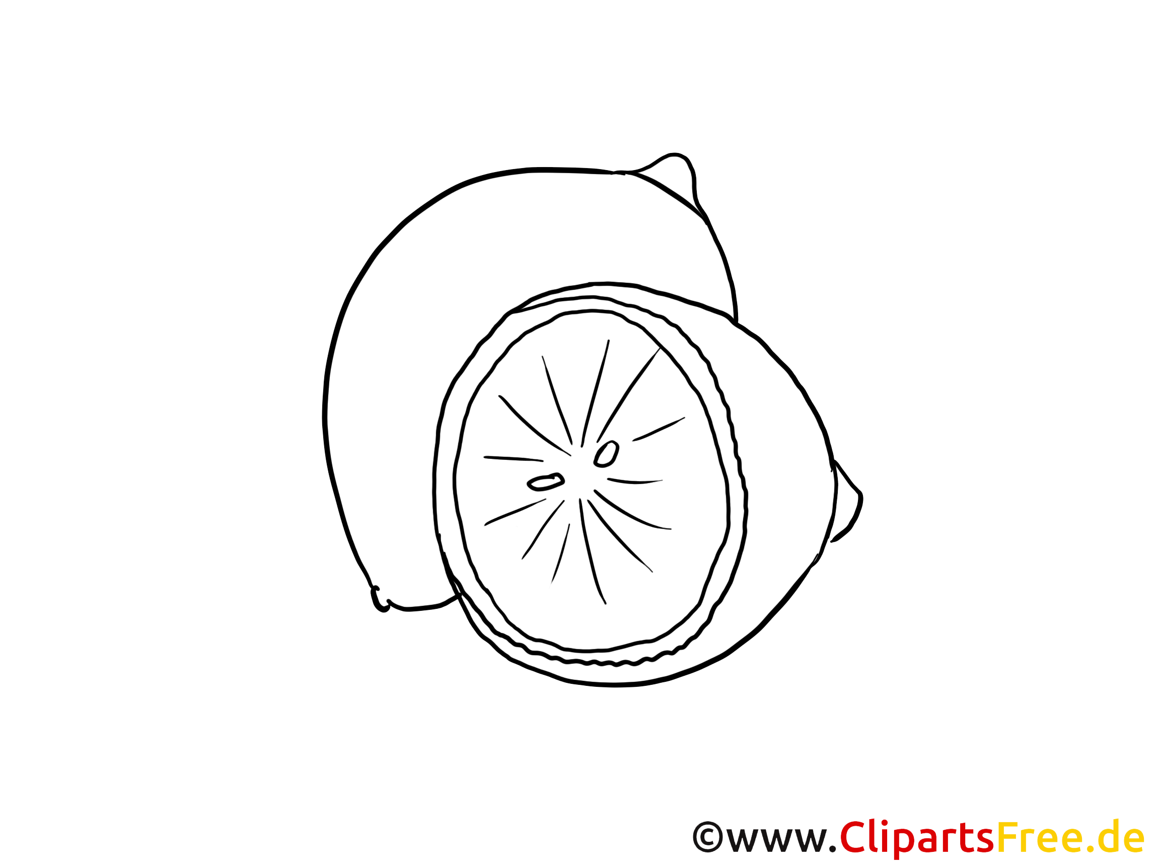 Zitrone Clipart schwarz-weiss