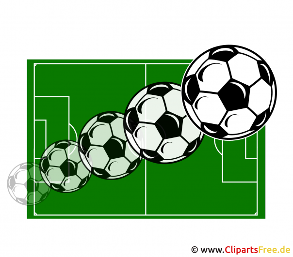 Ball fliegt über Fussballfeld