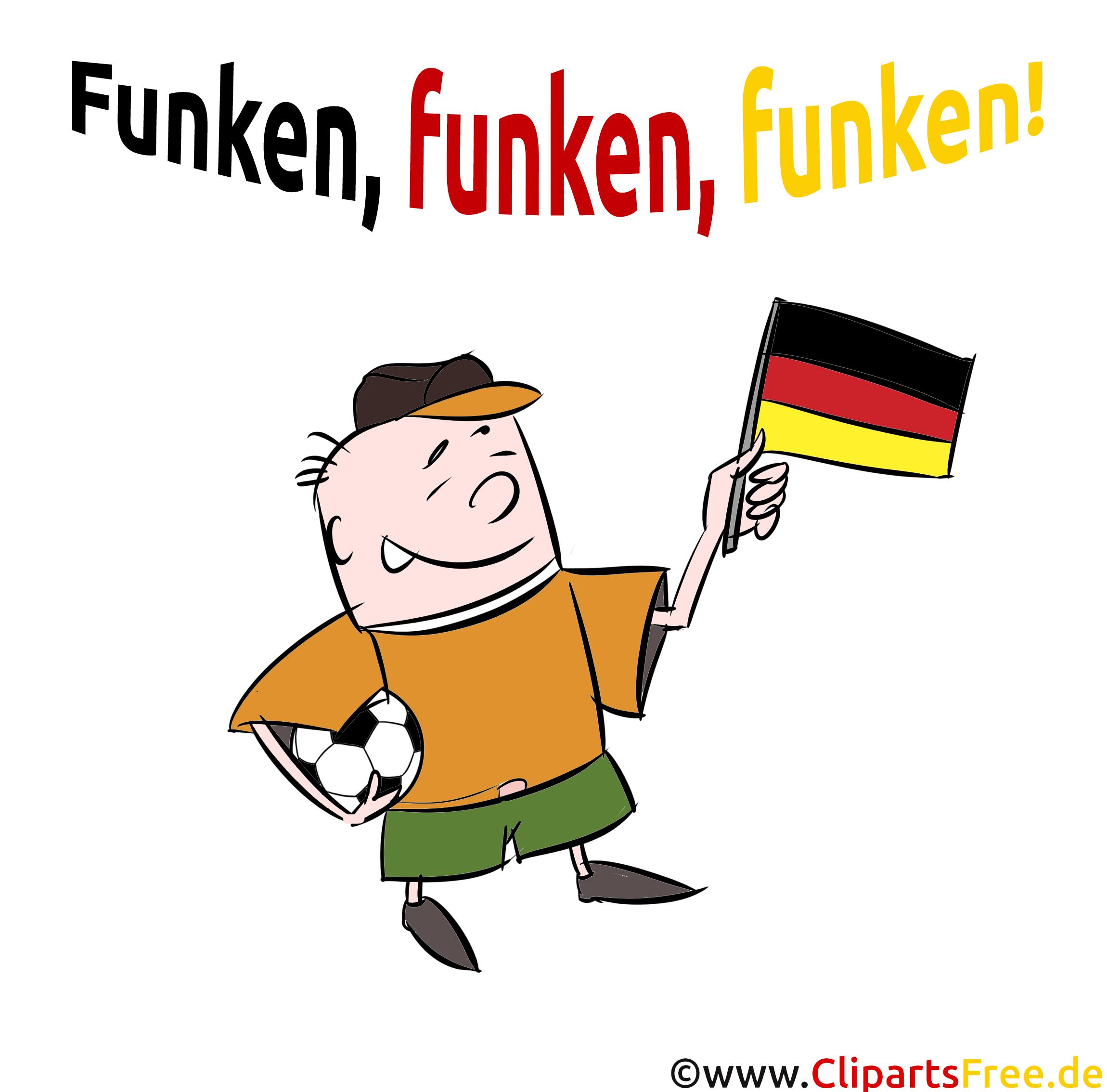 Fussball Clipart zu EM und WM Deutschland Flagge