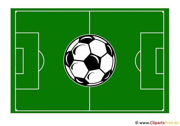 Fussballfeld mit Ball Clipart