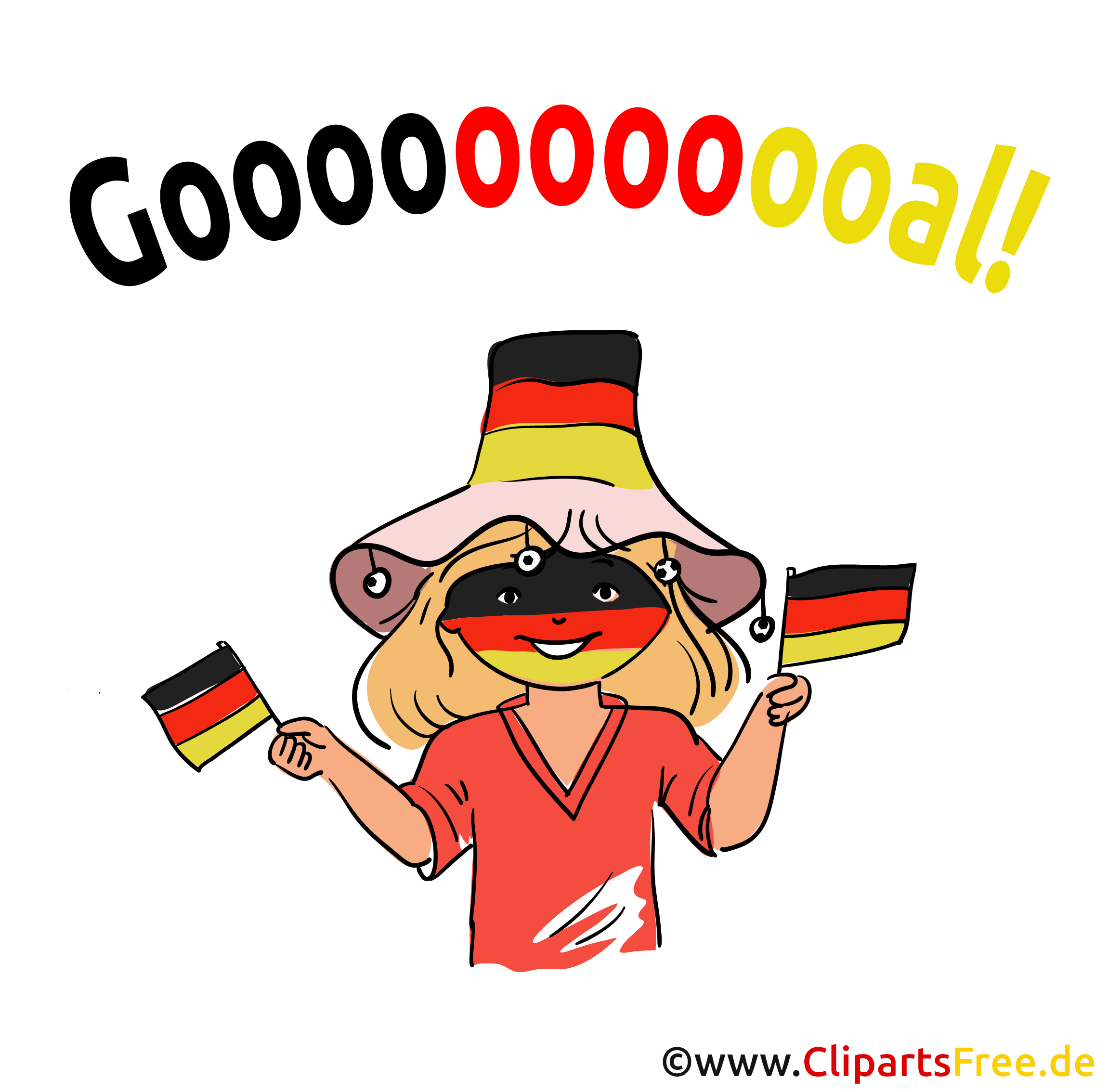 German girl football fan clip art, picture, image