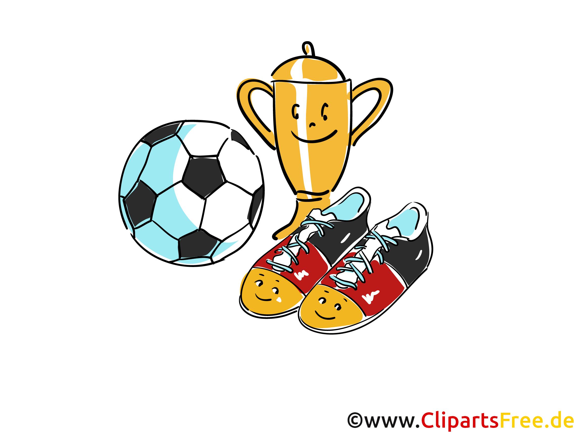 Pokal, Ball, Fussballschuhe Cliparts