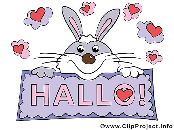 Bild Hallo - Clipart Hase