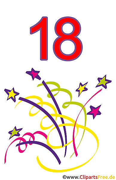 18. Doğum Günü Clipart Ücretsiz
