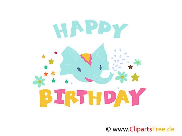 Birthday Clipart, Grafik, E-Karte, Bild kostenlos herunterladen