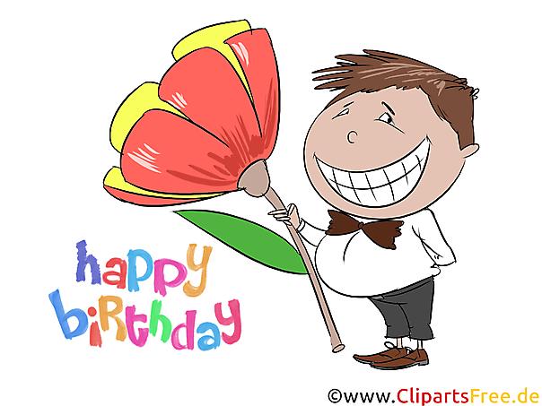 誕生日のクリップアート、微笑む少年、花、無料画像