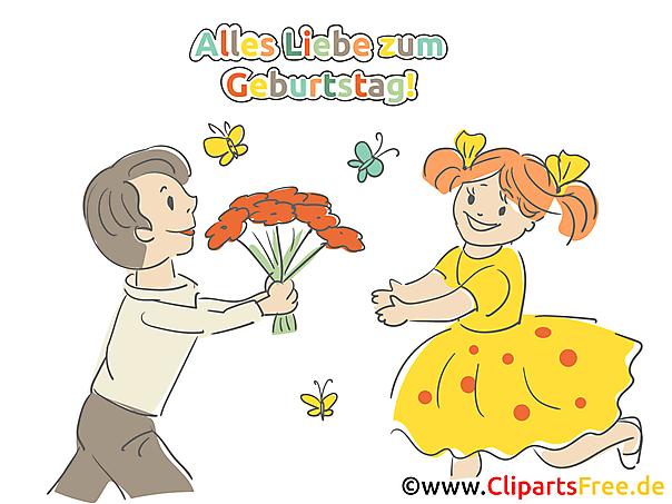 女と男の花の束を持つ誕生日写真