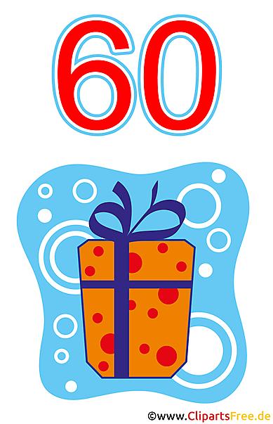 Geschenk zum 60 Geburtstag Clipart gratis