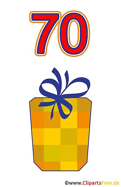 Geschenk zum 70 Geburtstag Clipart gratis