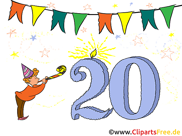 Gefeliciteerd 20. Verjaardag Clipart, Foto, Kaart