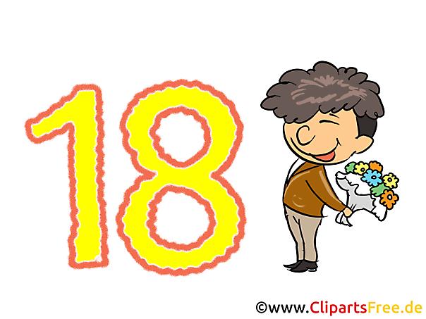 Glückwünsche zum 18. Geburtstag - Karte, Bild, Clipart