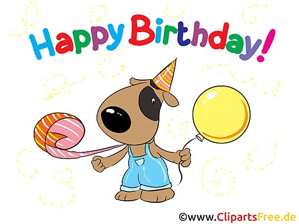 Happy Birthday Hund Karte, Clipart, Bild