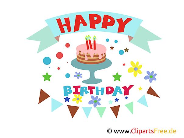 Kartkę z życzeniami z napisem Happy Birthday