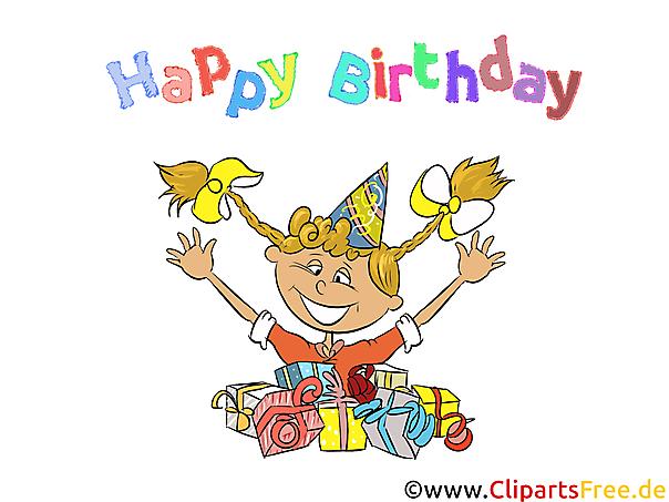 少女の誕生日の願い、カード、ギフト、写真