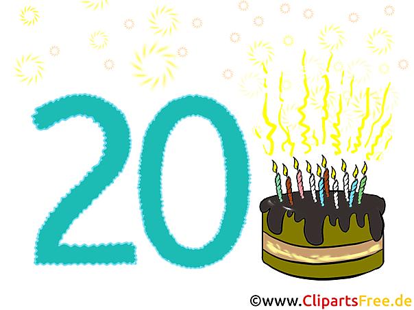 Naar de 20. Verjaardagskaart, clip art, foto, cartoon grappig