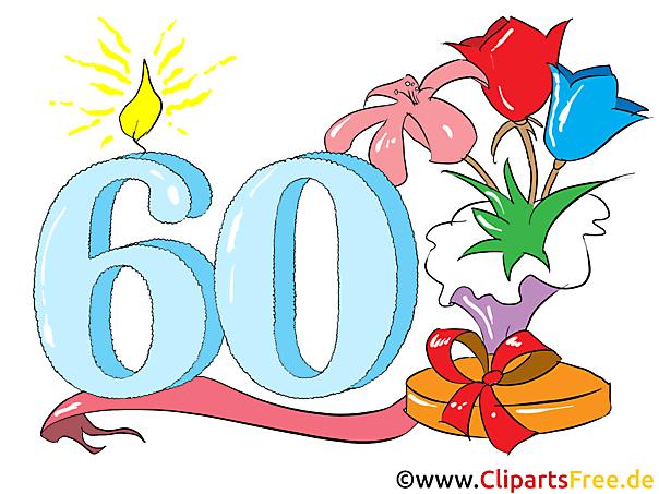 Zum 60. Geburtstag Clipart, Glückwunsch, Einladung