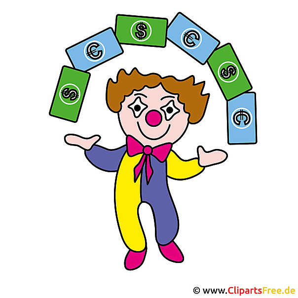 Clown en geld clipart gratis