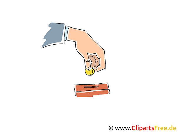 Münze einwerfen in Sparschwein Clipart