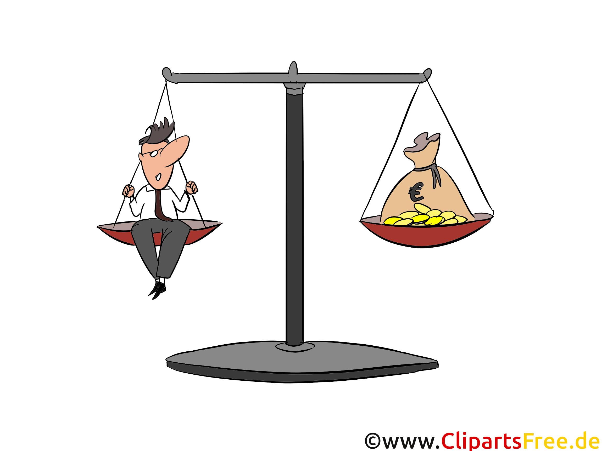 Waage mit Geld Clip Art, Bild, Cartoon, Comic, Illustration, Grafik kostenlos