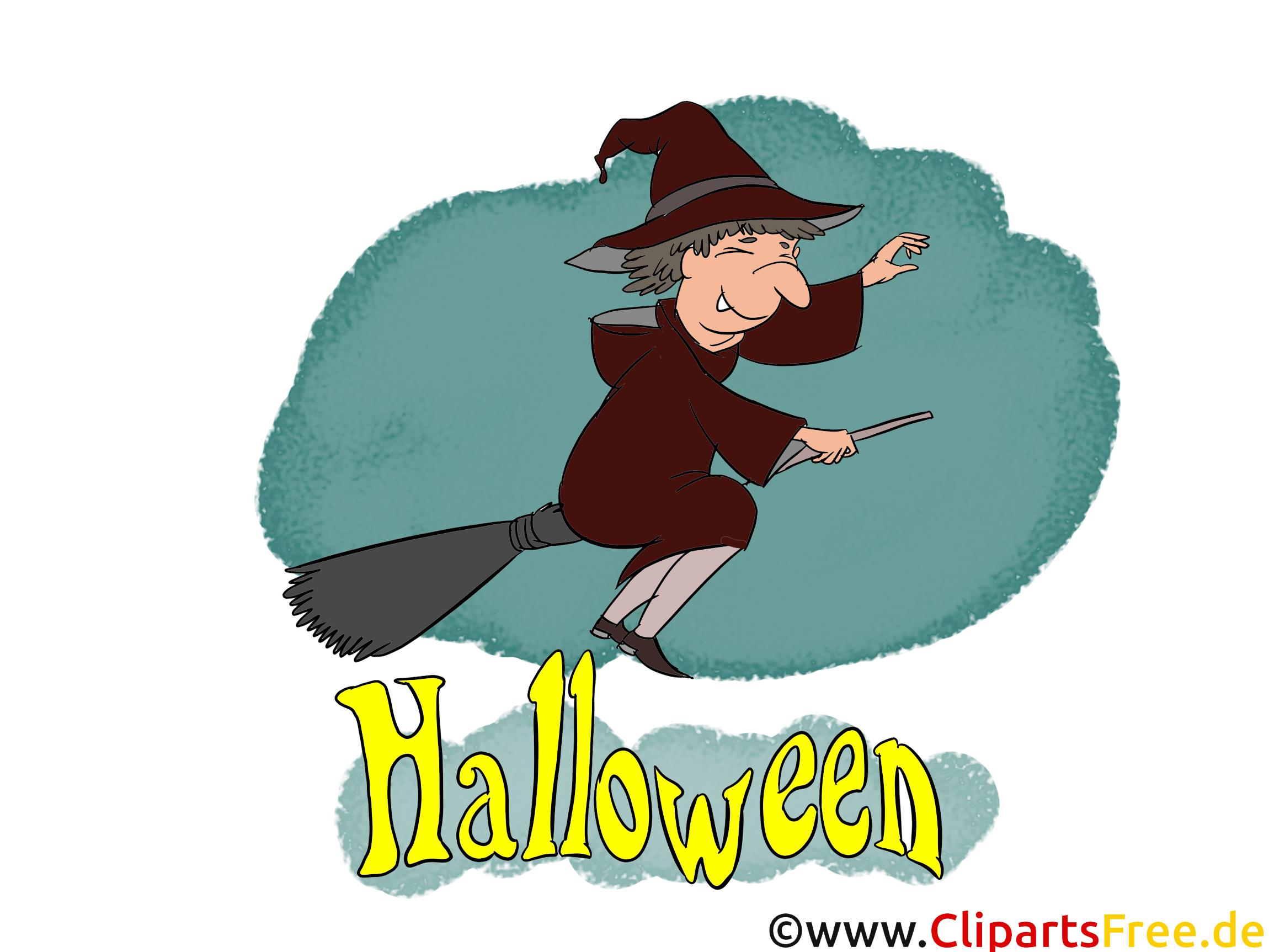 Heks met bezem - cliparts, afbeeldingen, wenskaarten, sjablonen voor uitnodigingen voor Halloween
