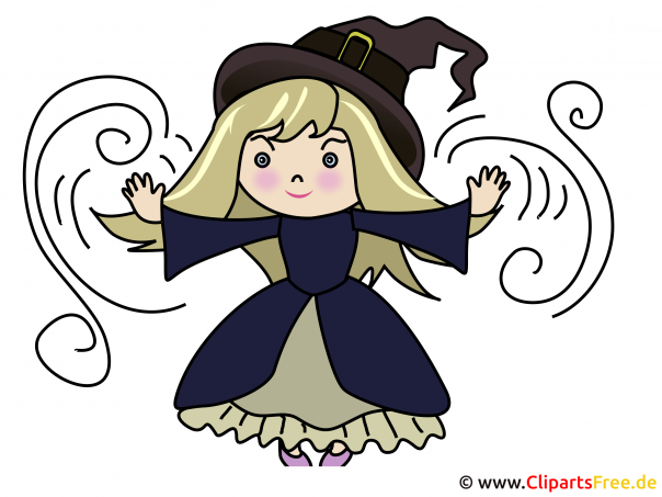 Cartoon Kleine Hexe - Illustration zu Halloween