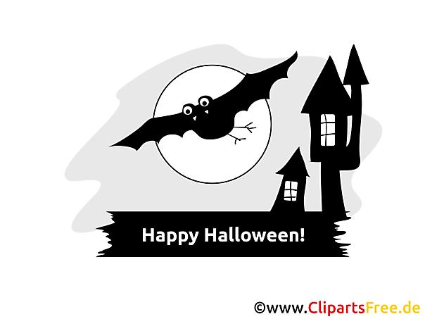 Fledermaus und gruseliger Schloss Clipart, Bild, Cartoon zu Halloween