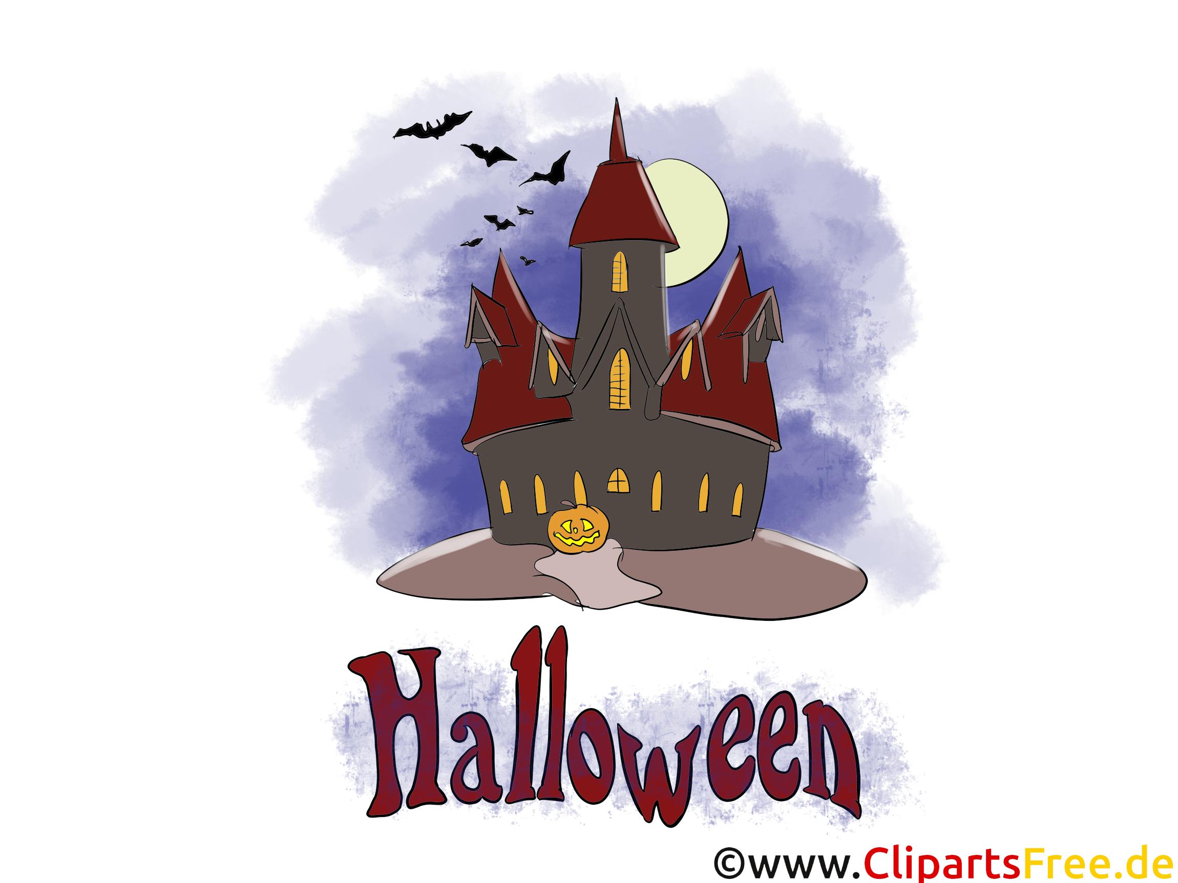 Gruseliger Schloss - Illustrationen, Bilder, Grafiken, Cliparts, Comics, Cartoons zu Halloween