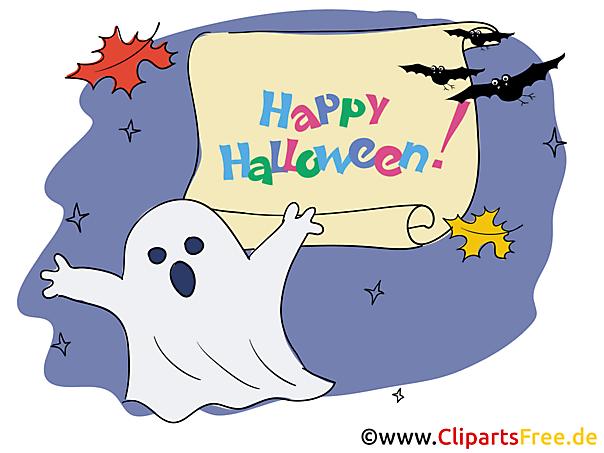 Gruss zu Halloween mit Gespenst