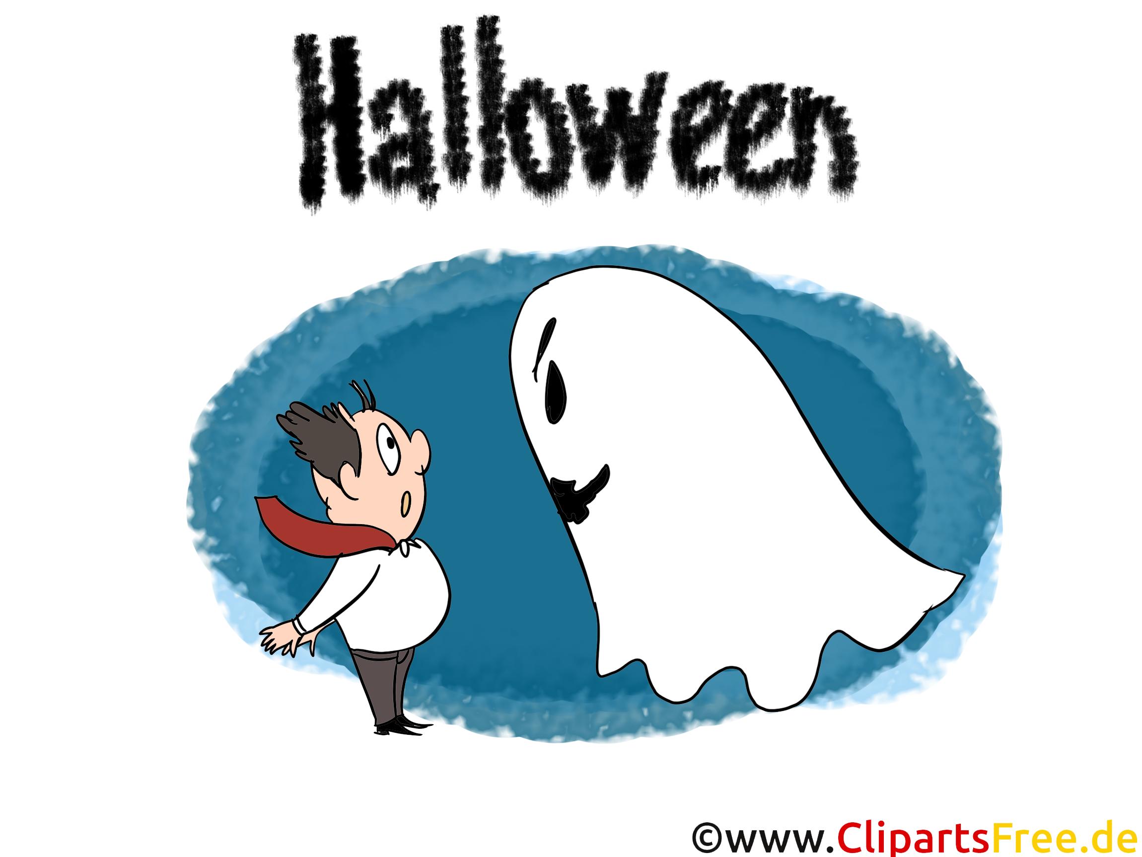 Halloween Einladungskarten basteln mit Gespenster - CLipart, Bild, Cartoon