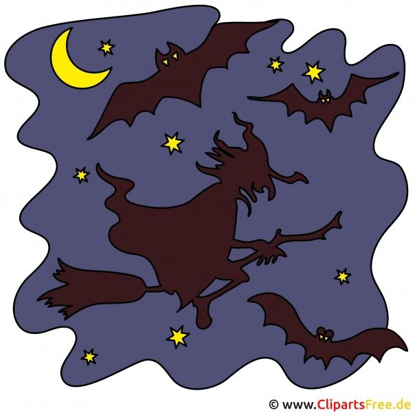 Hexen im Nachthimmel zu Halloween