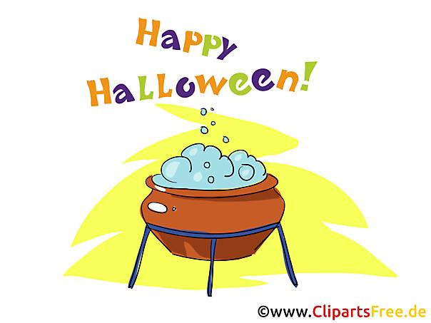Heksenketel Clipart, foto, tekenfilm op Halloween