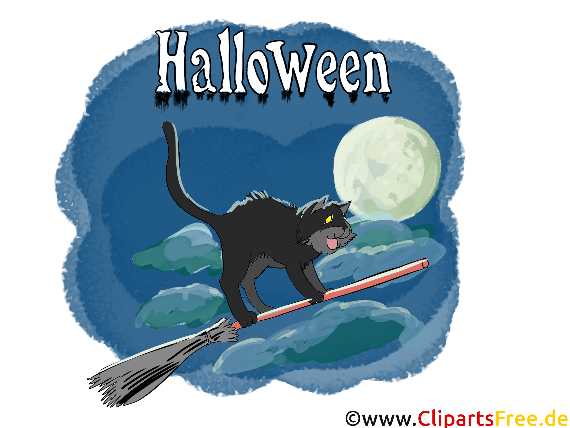 Schwarze Katze auf Besen - Illustrationen, Bilder, Grafiken, Cliparts, Cartoons zu Halloween