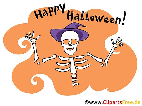 Skelett Cartoonbild zu Halloween