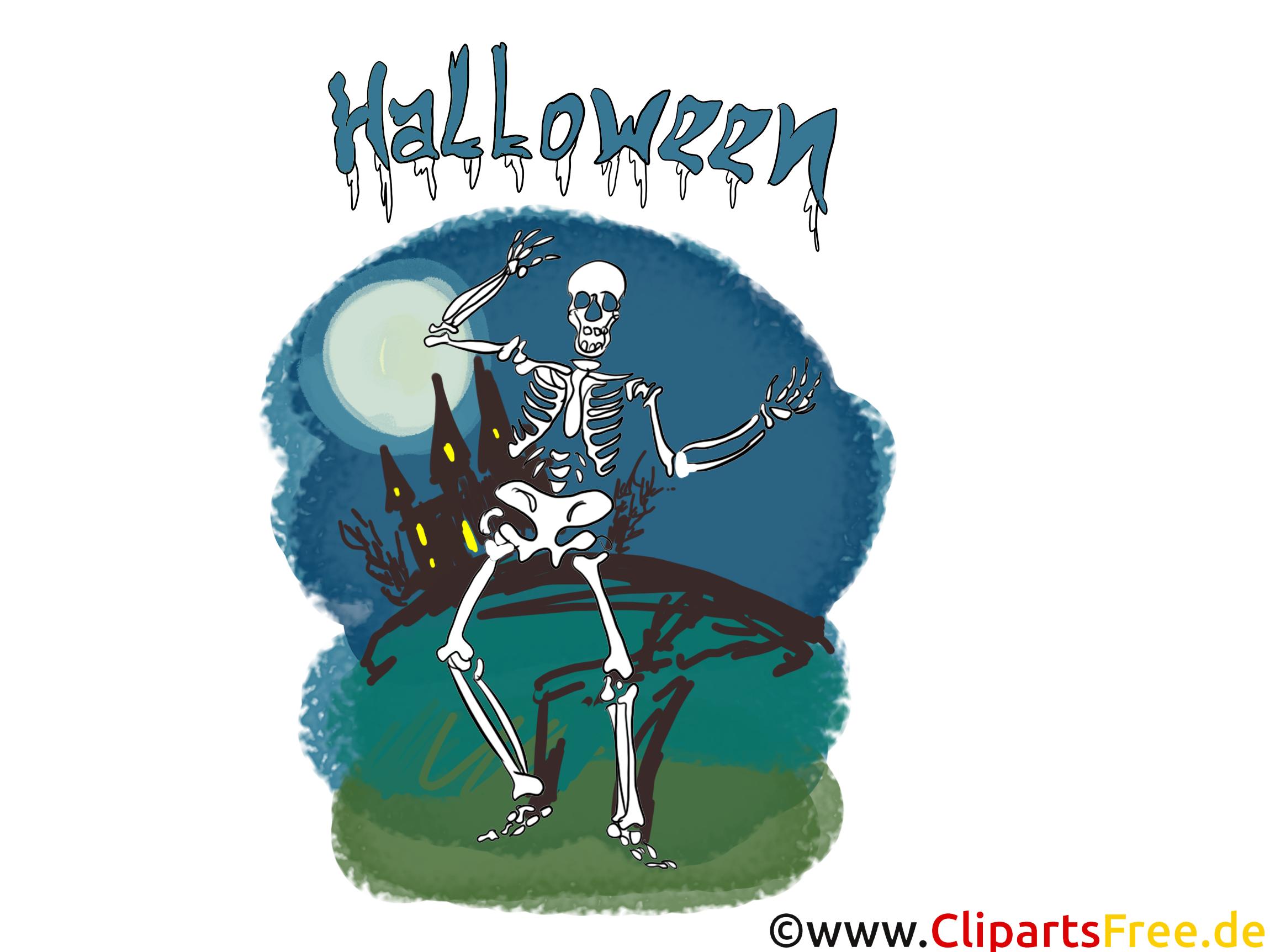 Skelett Clipart -Bilder, Grusskarten, Vorlagen für Einladungen zu Halloween