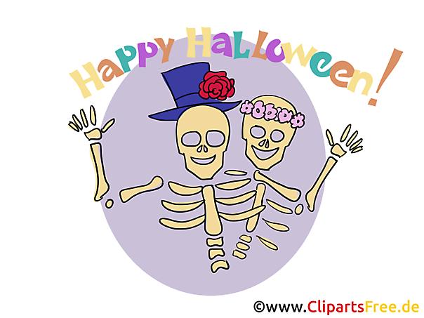 Skelett Clipart, Bild, Cartoon zu Halloween