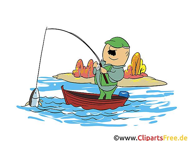Visserij op zee clipart, illustratie, grafisch beeld, beeldverhaal