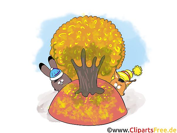 秋、木、野ウサギ、青い空の写真をダウンロードします。