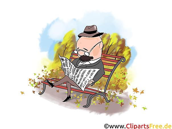Autumn Pictures gratis downloaden - Oude man leest krant op de bank in het park