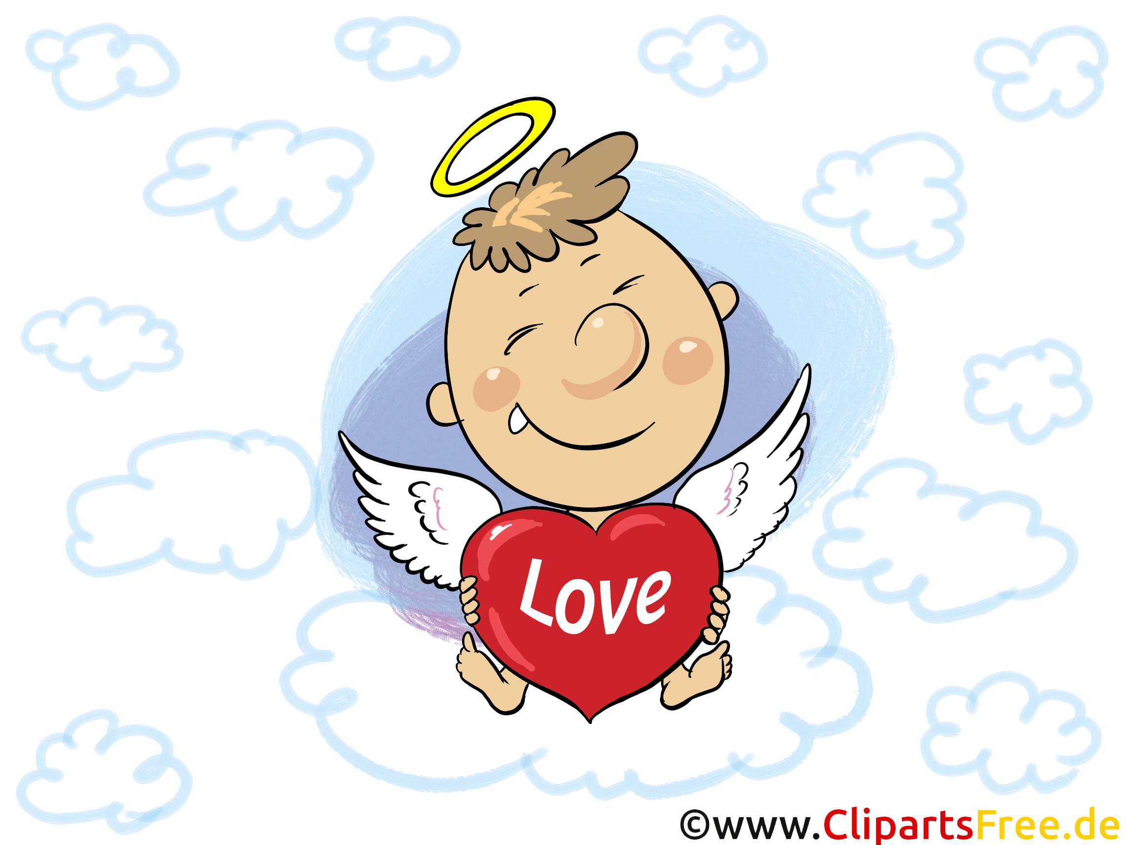 Engel mit Herz Liebesgruss, Liebe GB-Bild, Comic