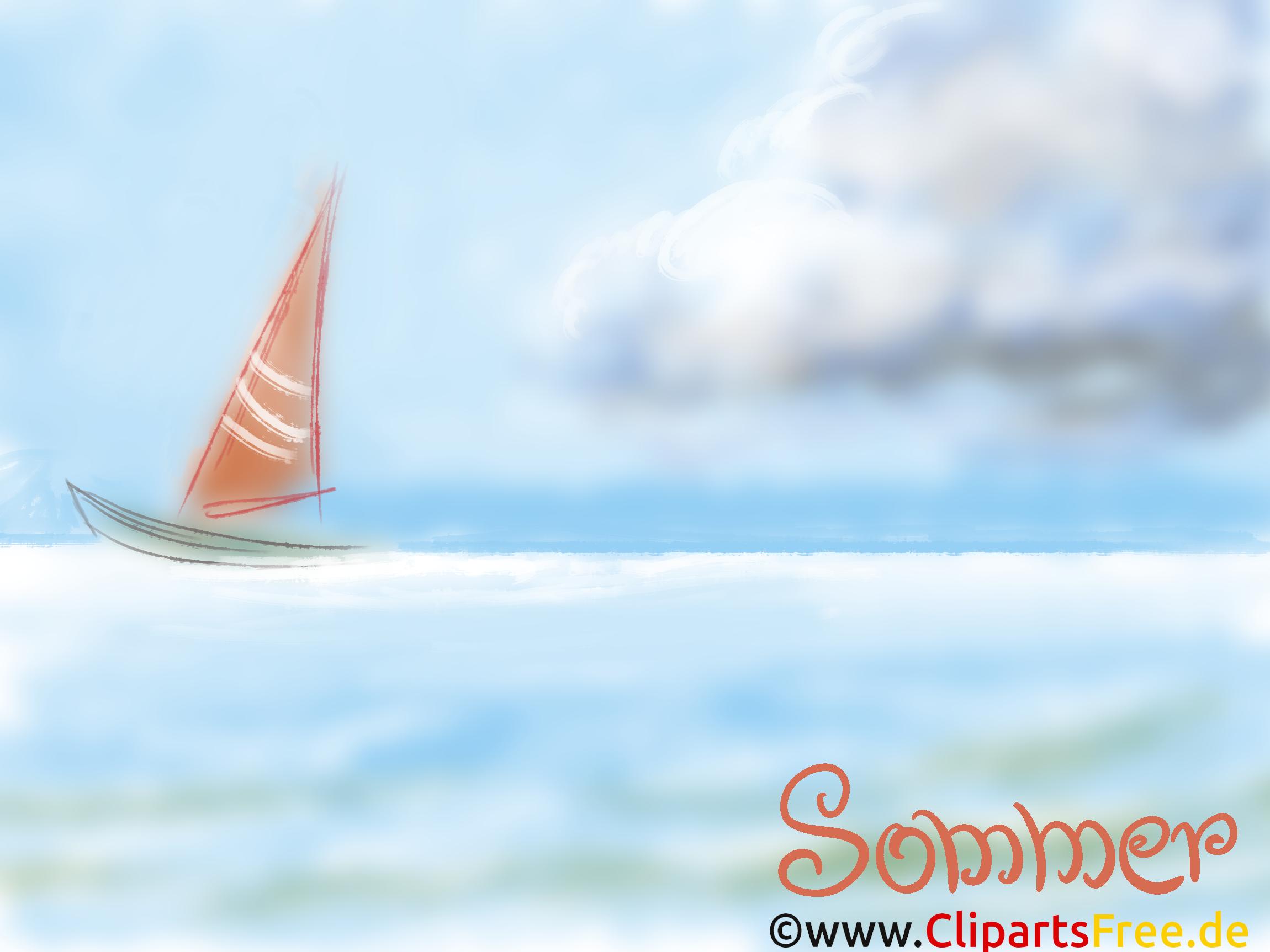 青、海、地平線の背景に帆