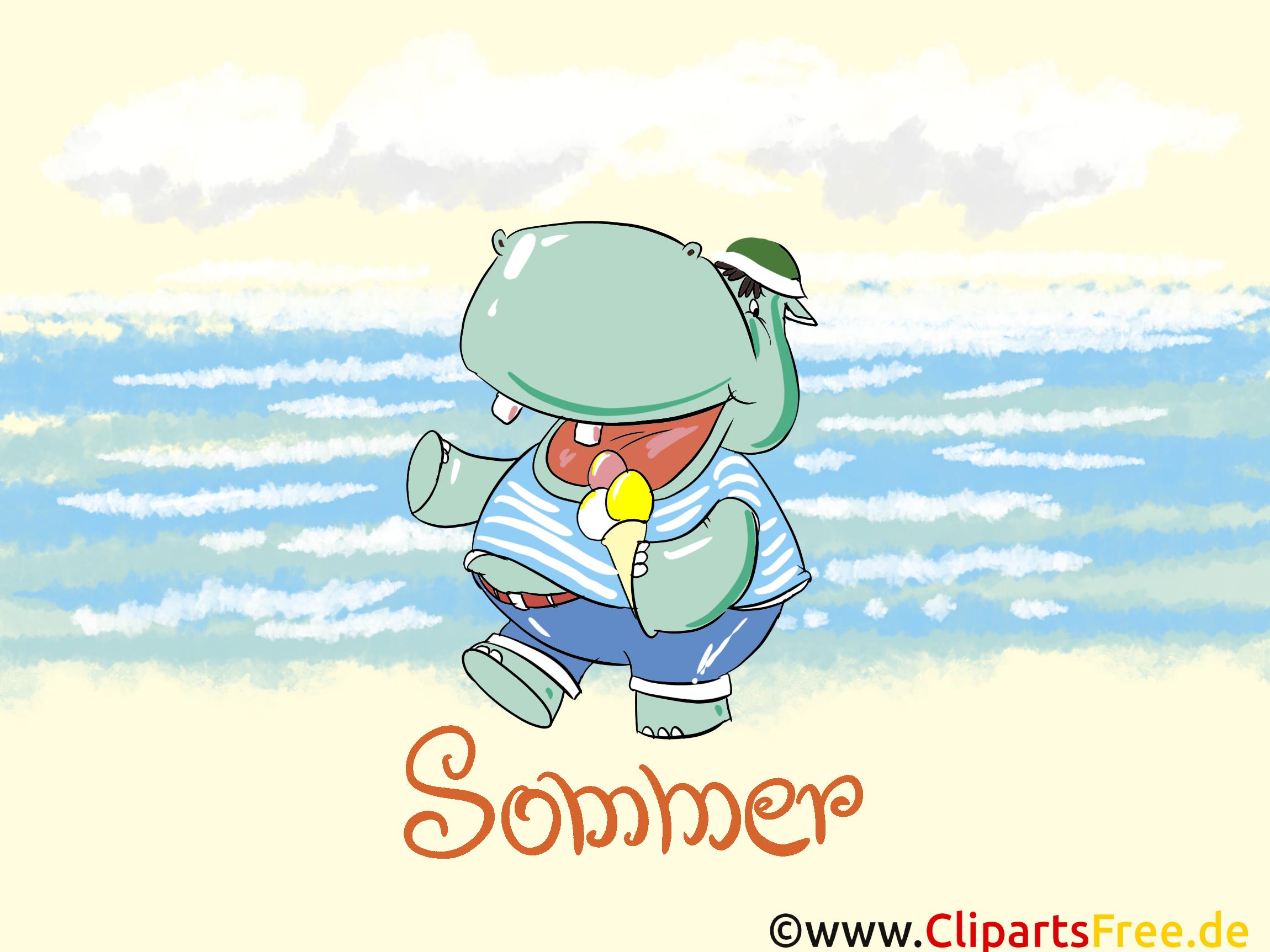 Bildschirmhintergrund kostenlos Sommer, Hippo