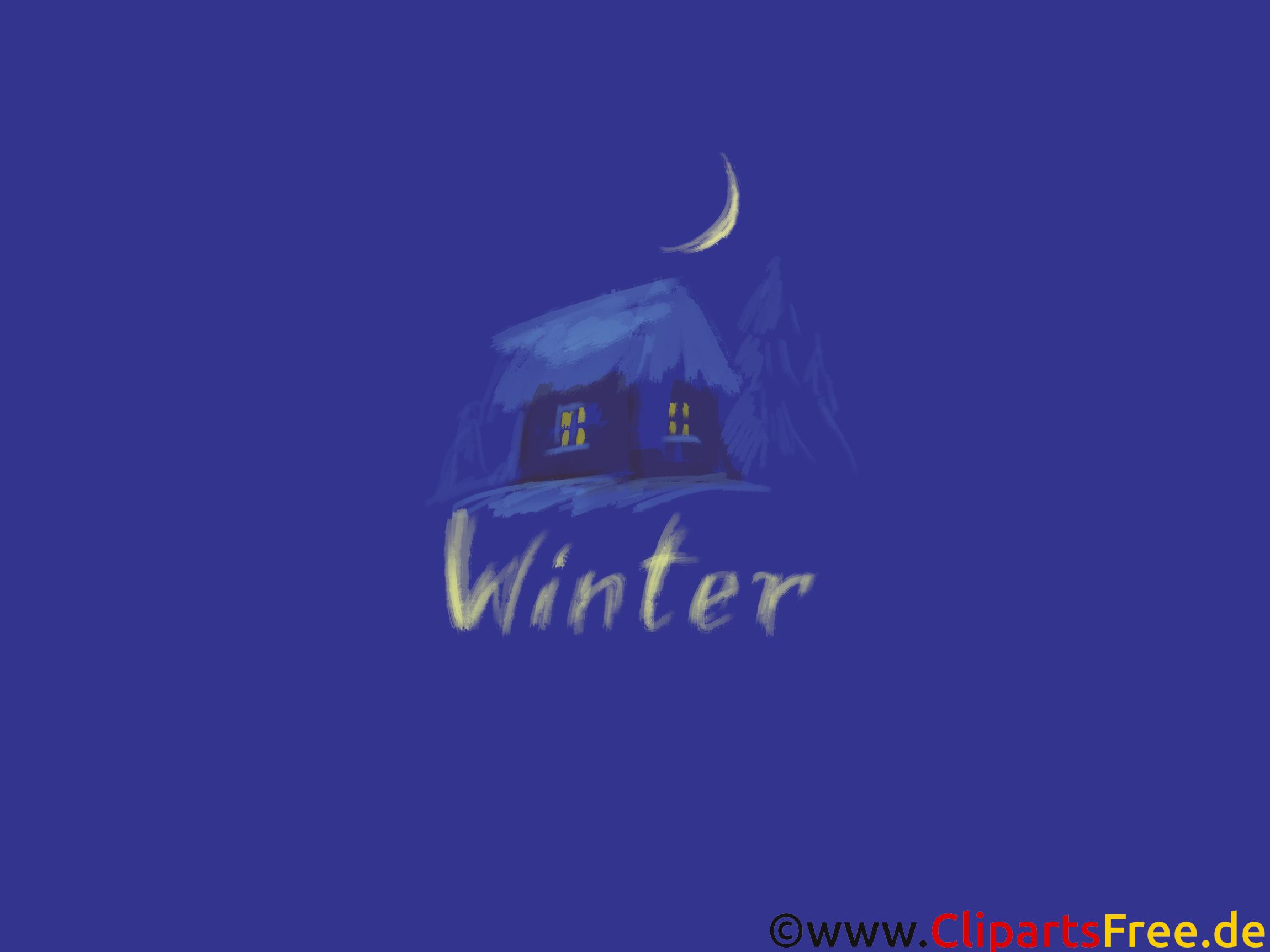 Desktopbild Häuschen im WInternacht