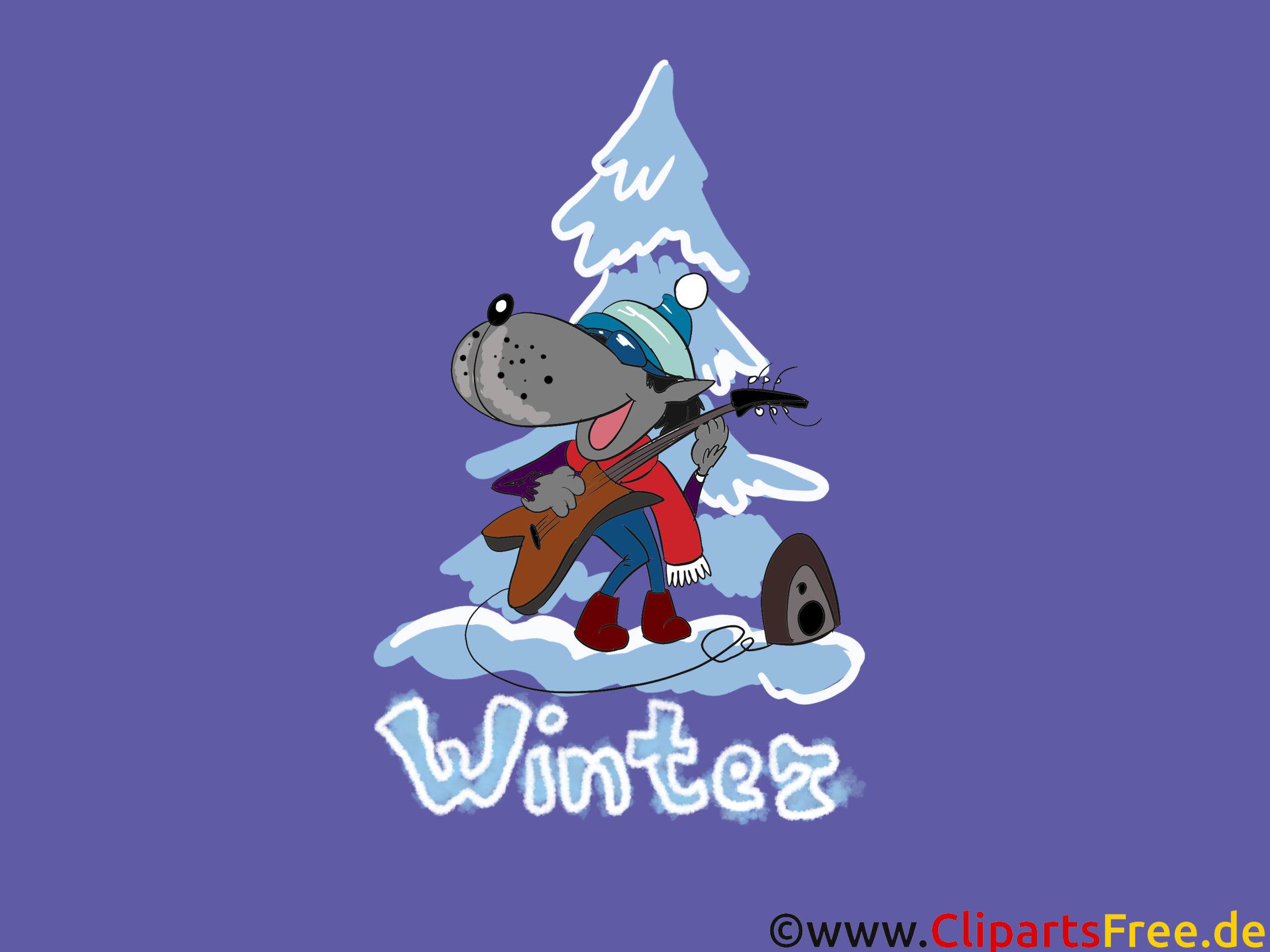 HD Hintergrundbilder Wolf, Winter, Tannenbaum, Schnee, Weihnachten