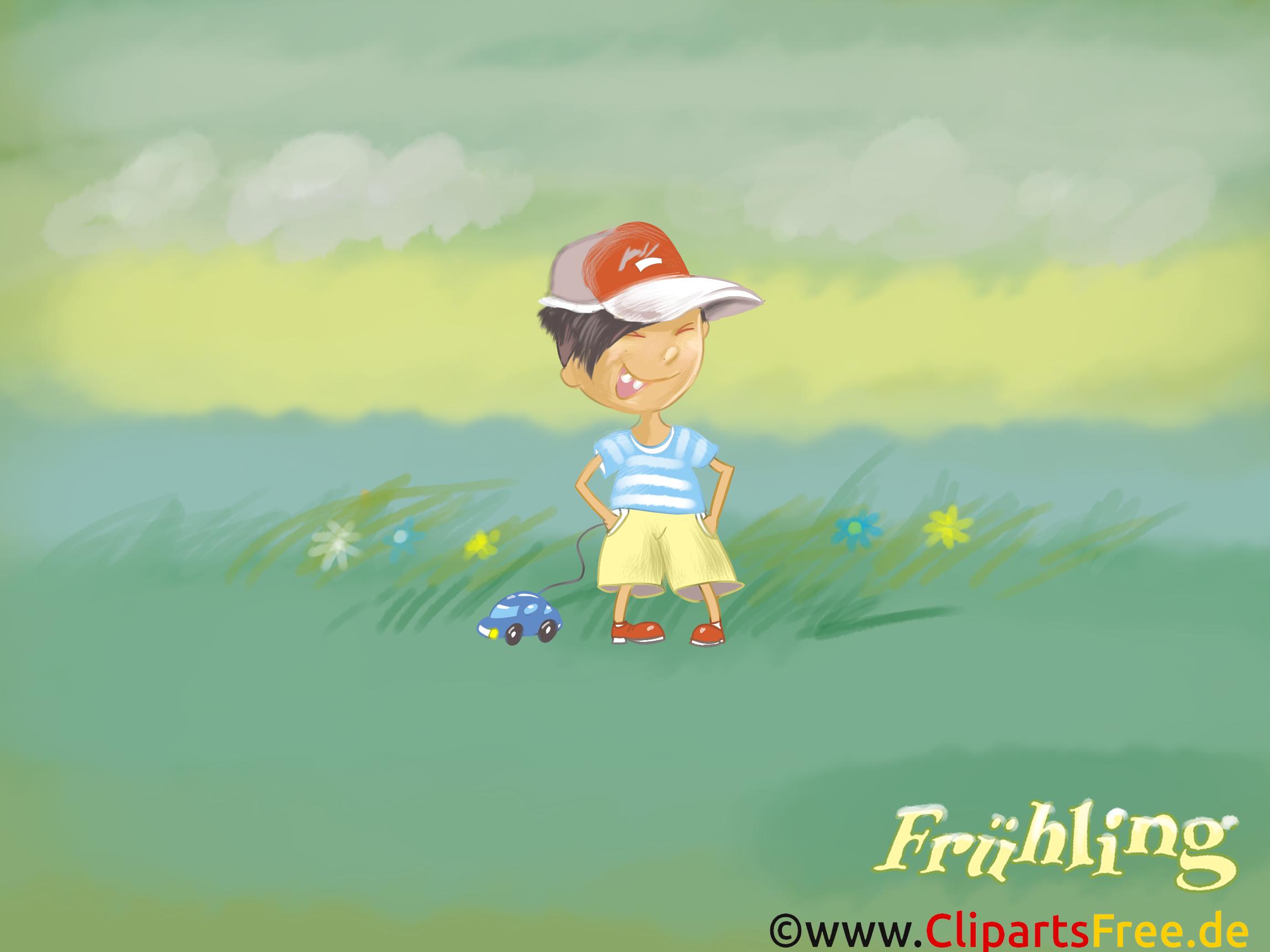 Hintergrundbild Frühling - Kleiner Junge auf der grünen Wiese