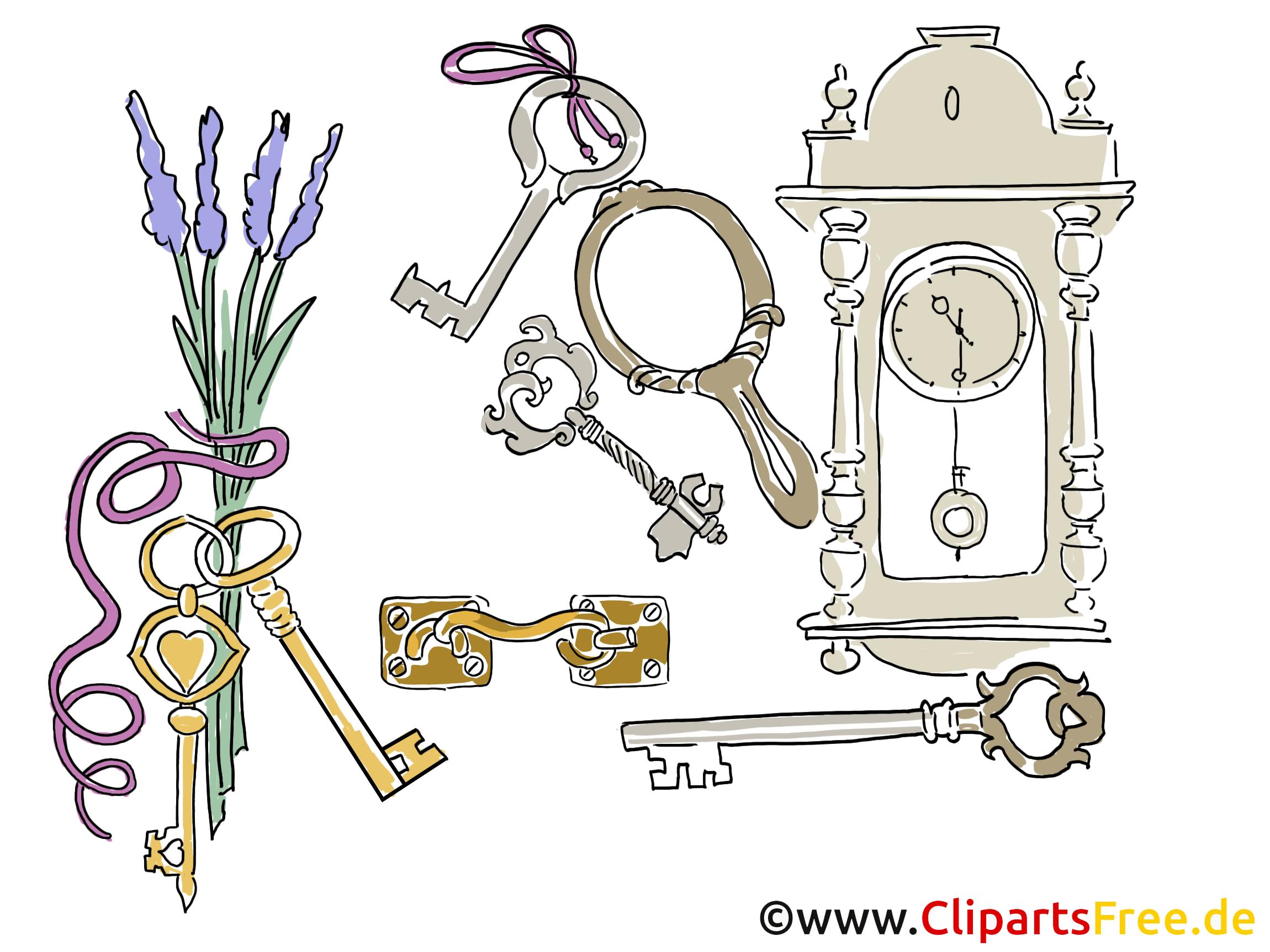 Hintergrundbild Wanduhr und Schlüssel gratis