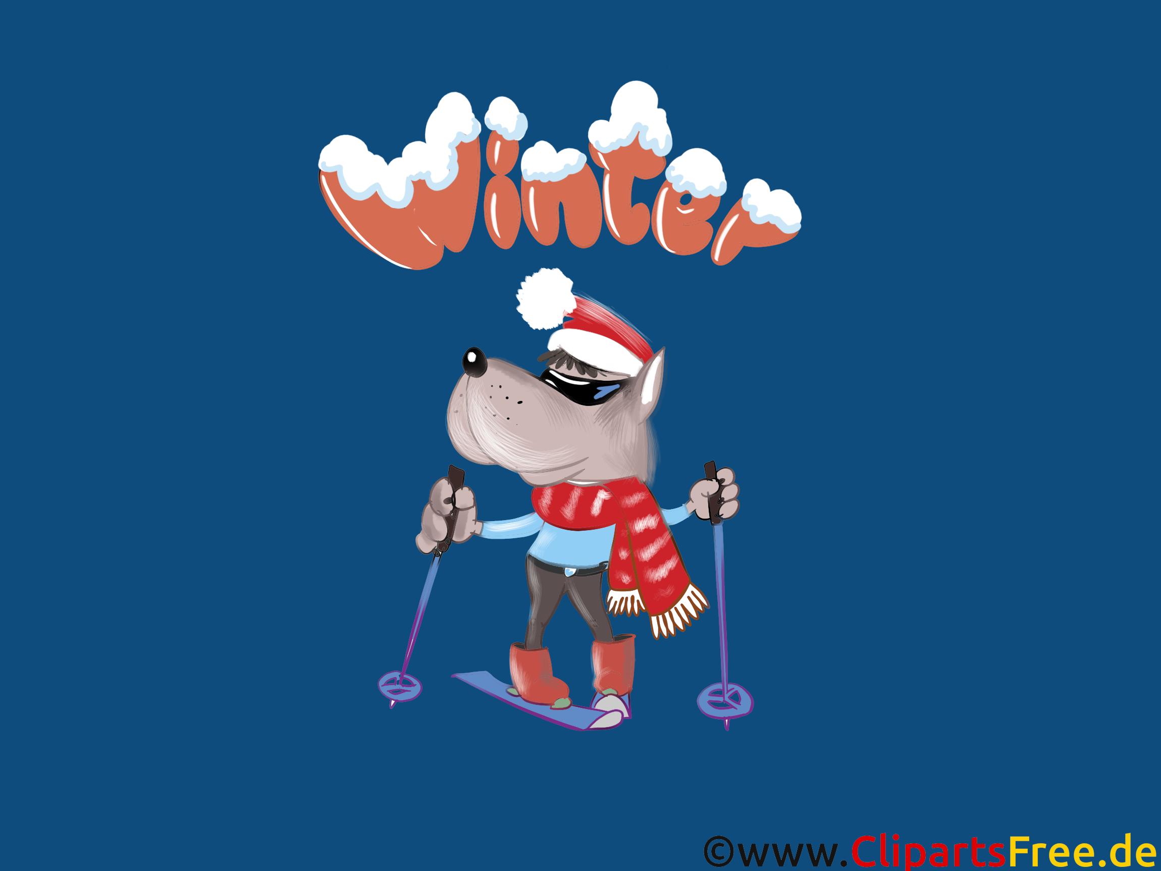 Hintergrundbild Weihnachten, Ski, Wolf, Cartoon