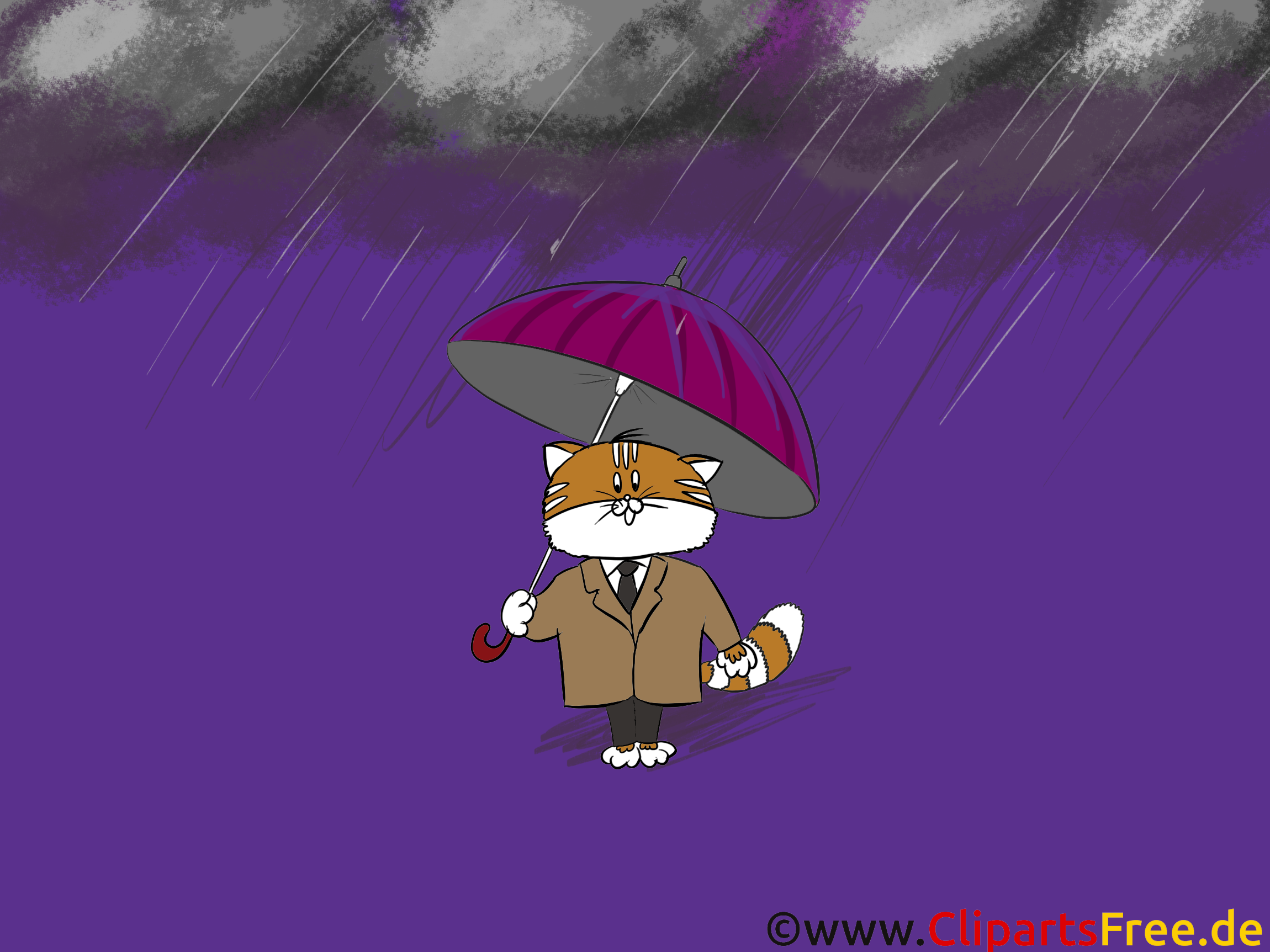 Hintergrundbilder Herbst - Katze mit Regenschirm