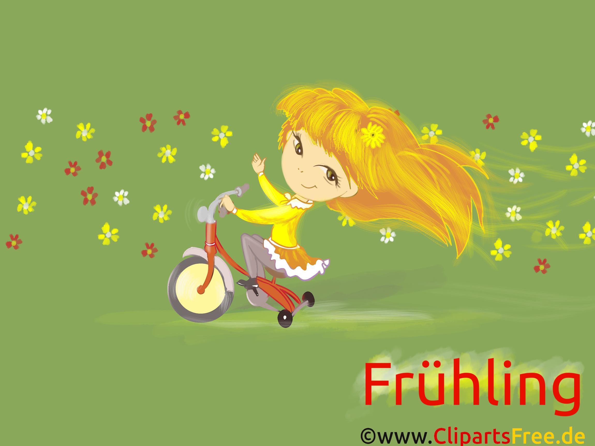 Kostenlose Desktopbilder Frühling, Fahrrad, Mädchen, Kind