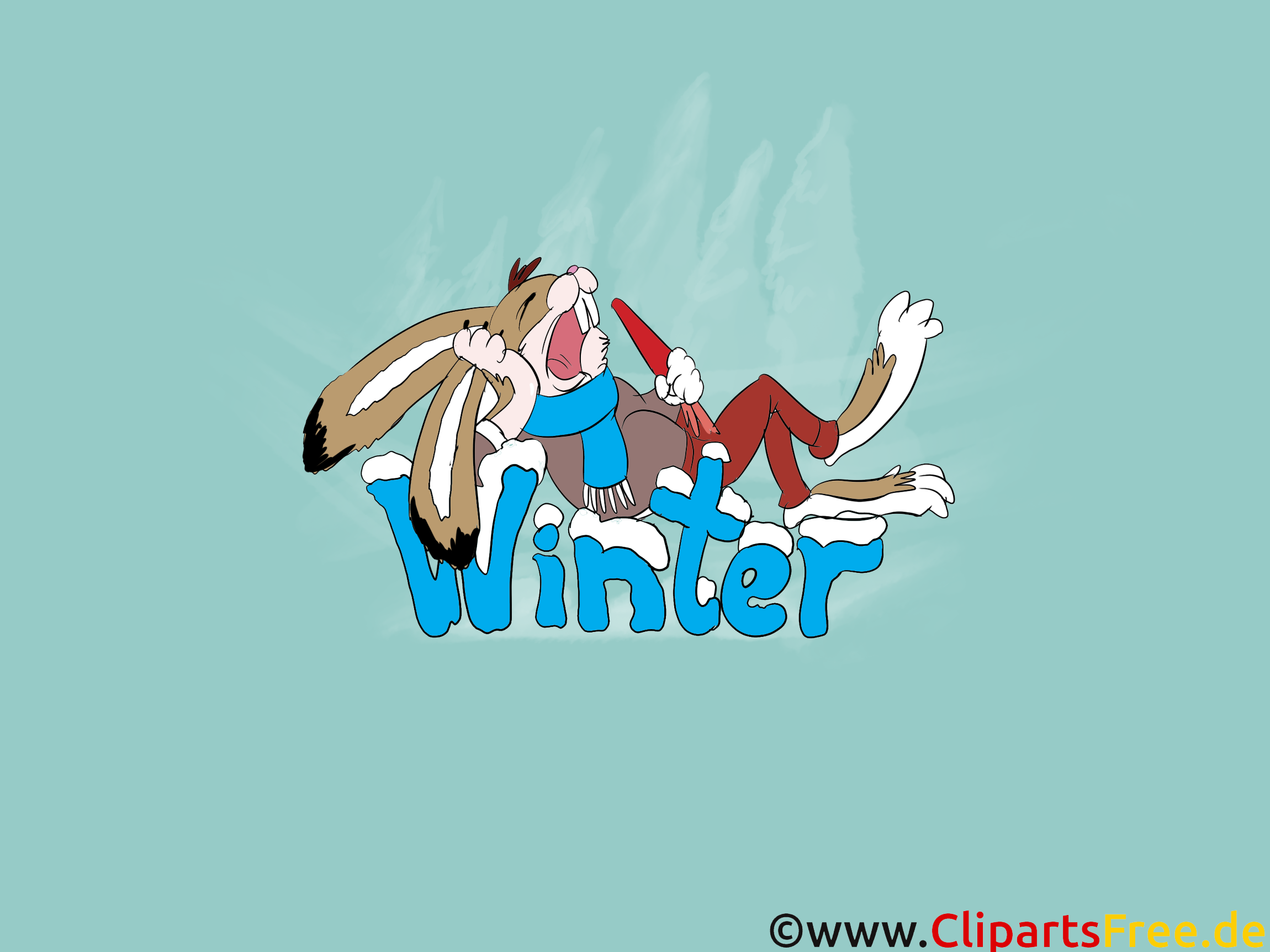 Winter Hintergrundbild Cartoon Hase